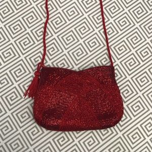 Red Beaded Evening Bag
